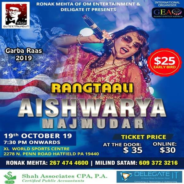 Biggest Garba Raas 2019 with Aishwarya Majmudar - Philadelphia