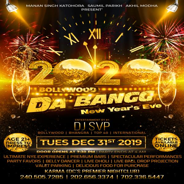 """Biggest 2020 New Years Eve Event in Washington DC Metro"" BOLLYWOOD DA'BANGG"