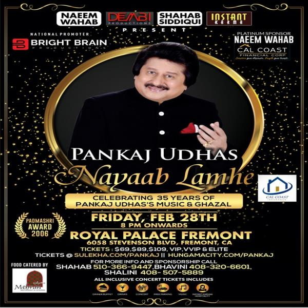 Padmashri Pankaj Udhas Live in Concert (Mehfill Style Concert ) ( All Tickets Includes Dinner Buffet